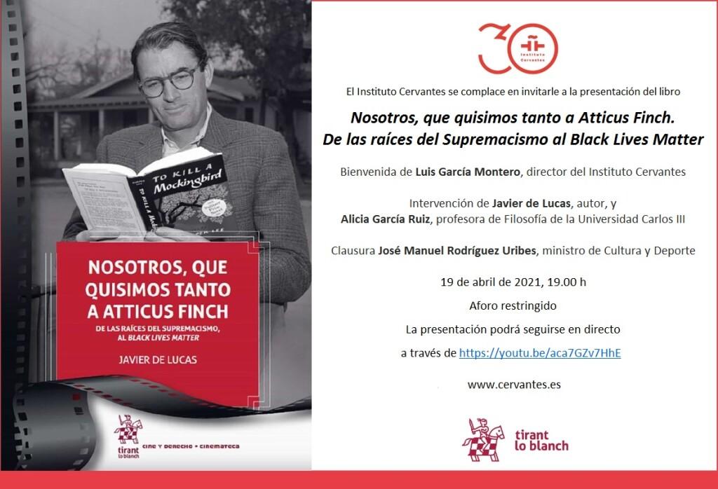 Tarjetón de invitación a la presentación de Nosotros, que quisimos tanto a Atticus Finch